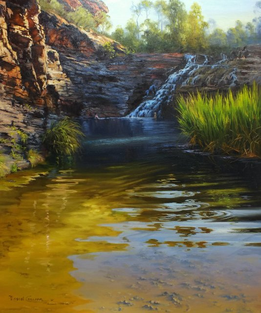 ASPECTS OF WATER – ARTISTS SOCIETY OF CANBERRA – 11-12-13 JAN 2021 Oil painting – turps free.